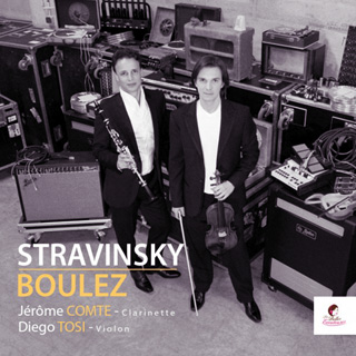 Diego Tosi au violon, Jérôme Comte à la clarinette, pour ce CD Boulez Stravinsky