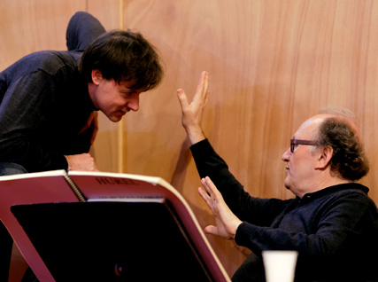 répétition de Les pigeons d'argile : Philippe Hurel et le chef Tito Ceccherini