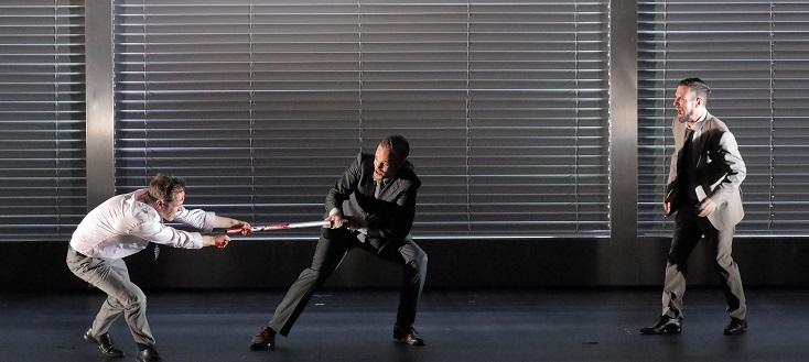 lynchage d'Ottone, dans l'Agrippina (Händel) de Barrie Kosky à Munich...