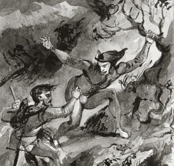 Eugène Delacroix : Méphistophélès et Faust au Blocksberg, 1827