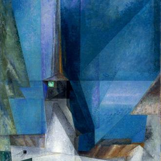 clocher allemand peint par le new yorkais Lyonel Feininger (1871-1956)