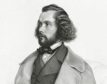 gravure d'August Prinzhofer (1845) : le compositeur Félicien David (1810-1876)