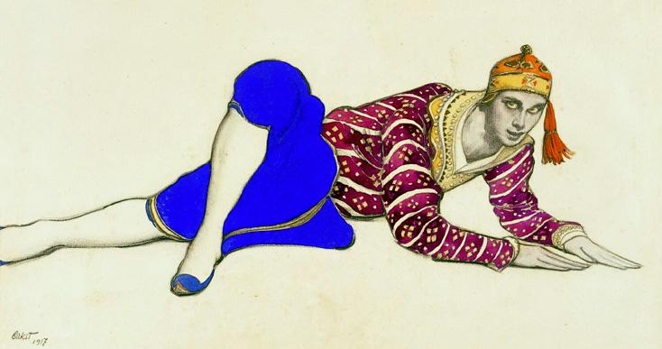 dessin de Lev Bakst pour les Ballets Russes, 1917