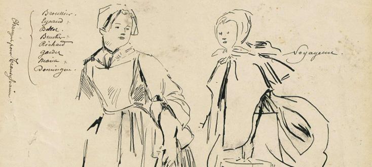 dessins préalables à la création du portrait de Manon (Massenet), en 1894