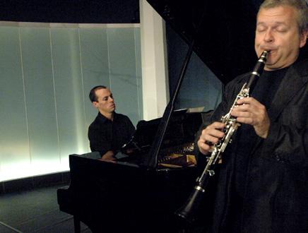le pianiste Julien Quentin et le clarinettiste Michael Collins à Verbier