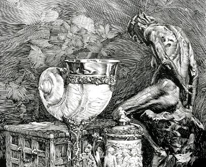 gravure de Vilmos Pogány pour illustrer Parsifal de Wagner